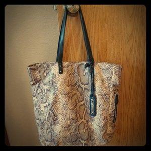 Sam Edleman Snake Print Leather Tote Bag